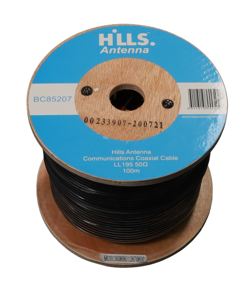 Hills High Quality 50 Ohm LL195/LMR195 Low Loss Coaxial Cable - 100M Roll