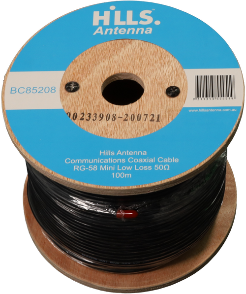Hills High Quality 50 Ohm RG58 Mini Low Loss Coaxial Cable - 100M Roll