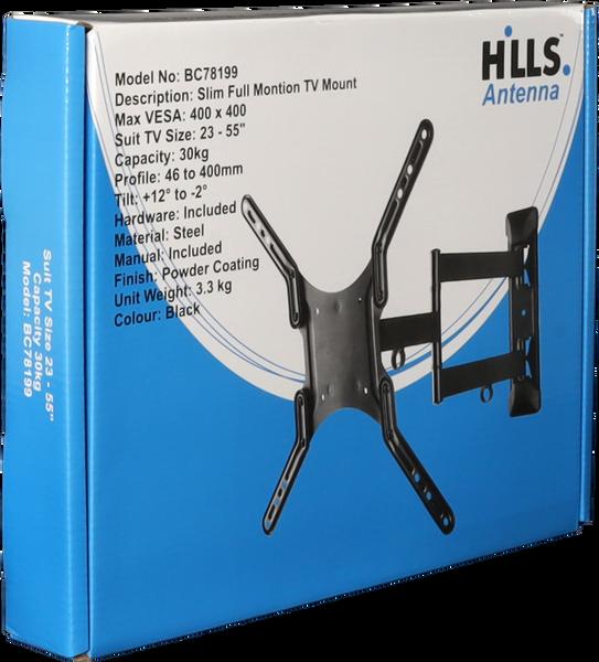 """Hills BC78199 Slim Full Motion TV Mount - 23"""" - 55"""""""