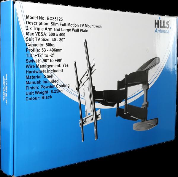 """Hills BC85125 Slim Full Motion TV Mount 40"""" - 80"""""""