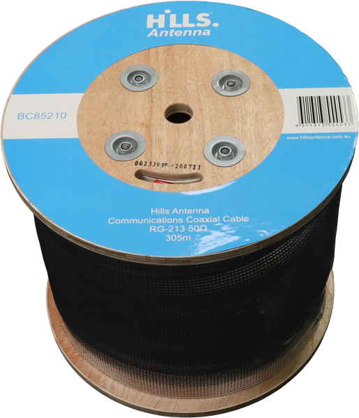 Hills High Quality 50 Ohm RG213 Low Loss Coaxial Cable - 305M Roll