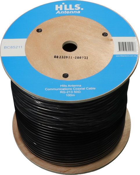 Hills High Quality 50 Ohm RG213 Low Loss Coaxial Cable - 100M Roll