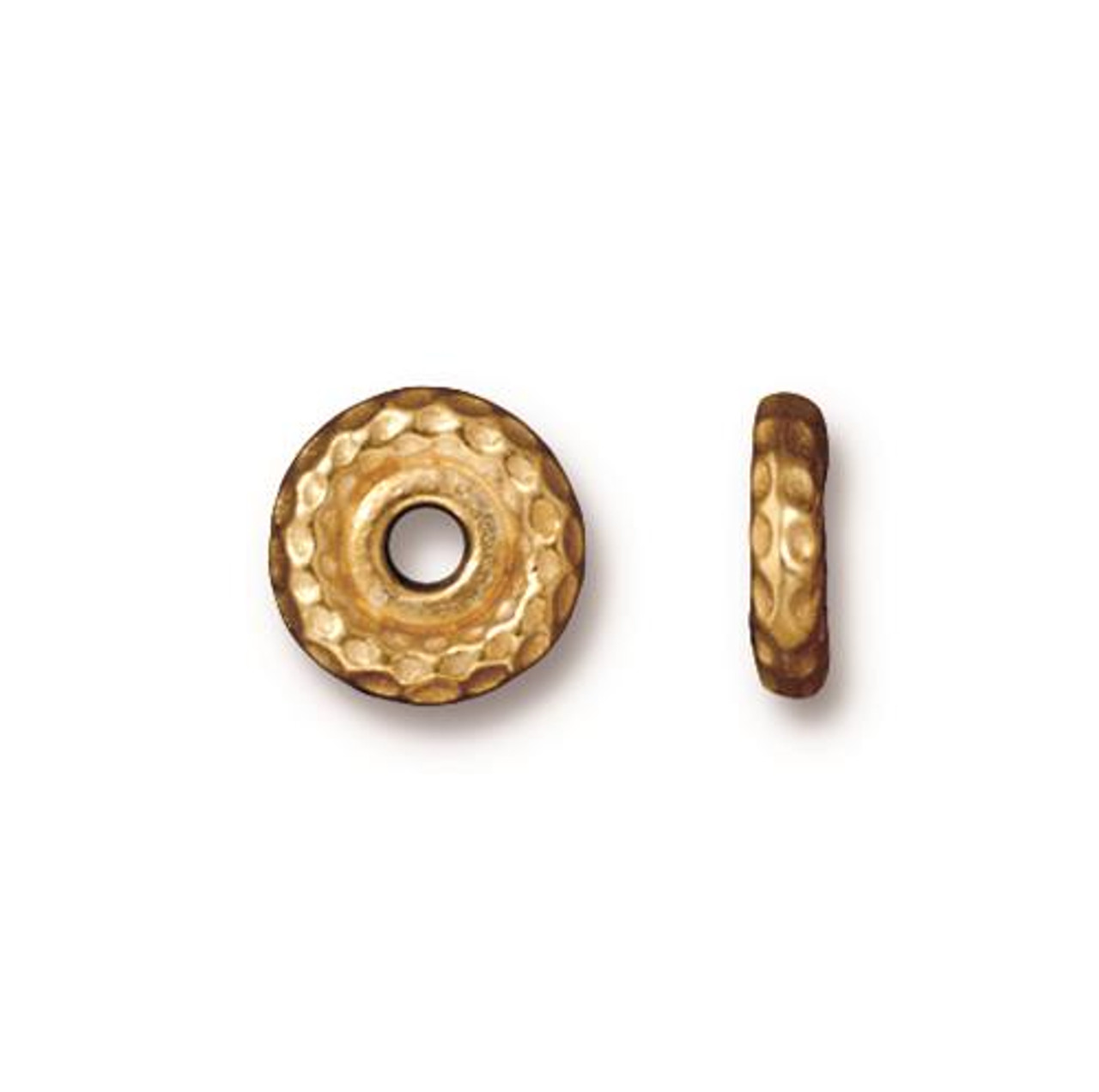 Hammertone 10mm Large Hole Bead, Gold Plate, 20 per Pack