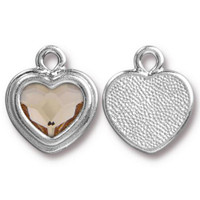 Clearance: Lt Silk Crystal Stepped Heart Charm, Rhodium Plated, 6 per Pack