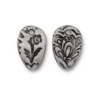Flora Charm, Antiqued Pewter, 20 per Pack