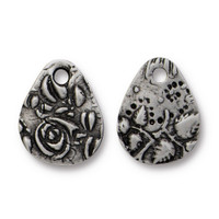 Flora Small Teardrop Charm, Antiqued Pewter, 20 per Pack