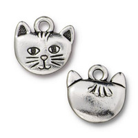 Whiskers Charm, Antiqued Silver Plate, 20 per Pack