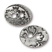 Jardin Button, Antiqued Pewter, 20 per Pack
