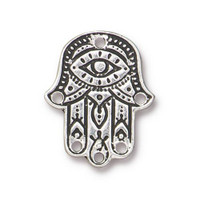 Hamsa Hand Link, Antiqued Silver Plate, 20 per Pack
