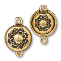 Lotus Magnetic Clasp Set, Antiqued Gold Plate, 5 per Pack