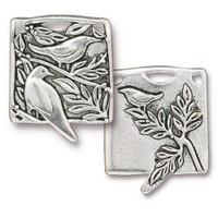 Botanical Birds Pendant, Antiqued Silver Plate, 6 per Pack