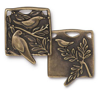 Botanical Birds Pendant, Oxidized Brass Plate, 6 per Pack
