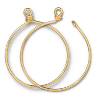 Charm Keeper Hoop 42mm inside diameter 15 gauge wire, Gold Plate, 6 per Pack