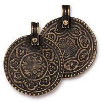 Eight Signs Pendant, Oxidized Brass Plate, 10 per Pack