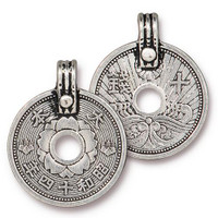 Asian Coin Charm, Antiqued Silver Plate, 10 per Pack