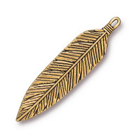Feather 3 inch Pendant, Antiqued Gold Plate, 6 per Pack