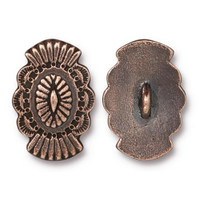 Western Button, Antiqued Copper Plate, 20 per Pack