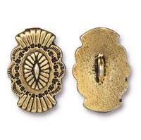 Western Button, Antiqued Gold Plate, 20 per Pack