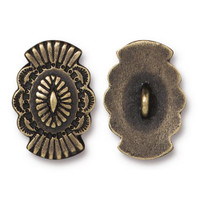 Western Button, Oxidized Brass Plate, 20 per Pack