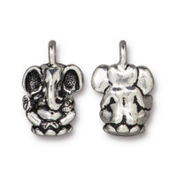 Ganesh Charm, Antiqued Silver Plate, 20 per Pack