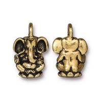 Ganesh Charm, Antiqued Gold Plate, 20 per Pack