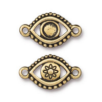 Evil Eye Bezel Link, Antiqued Gold Plate, 20 per Pack