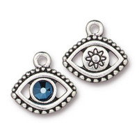Evil Eye Charm With Swarovski ® SS20, Antiqued Silver Plate, 6 per Pack