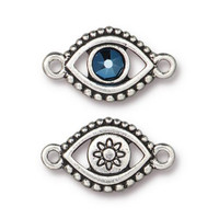 Evil Eye Link With Swarovski ® SS20, Antiqued Silver Plate, 6 per Pack