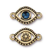 Evil Eye Link With Swarovski ® SS20, Antiqued Gold Plate, 6 per Pack