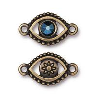 Evil Eye Link With Swarovski ® SS20, Oxidized Brass Plate, 6 per Pack