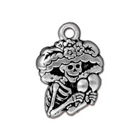 Catrina Charm, Antiqued Silver Plate, 20 per Pack