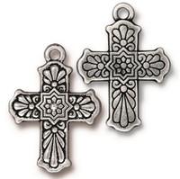 Talavera Cross Charm, Antiqued Silver Plate, 10 per Pack