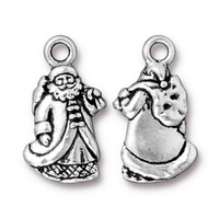 St. Nick Charm, Antiqued Silver Plate, 20 per Pack