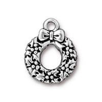 Wreath Charm, Antiqued Silver Plate, 20 per Pack
