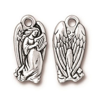 Angel Charm, Antiqued Silver Plate, 20 per Pack