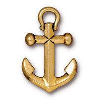 Anchor Pendant, Antiqued Gold Plate, 10 per Pack