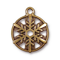 Snowflake Charm, Antiqued Gold Plate, 20 per Pack