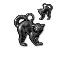 Scary Cat Charm, Black Plate, 20 per Pack