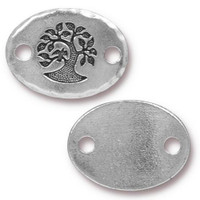 Bird In A Tree Link, Antiqued Silver Plate, 20 per Pack