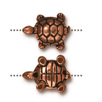 Turtle Bead, Antiqued Copper Plate, 20 per Pack
