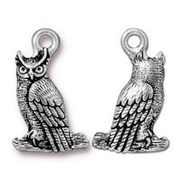 Owl Charm, Antiqued Silver Plate, 20 per Pack