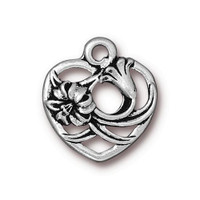Floral Heart Charm, Antiqued Silver Plate, 20 per Pack