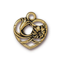 Floral Heart Charm, Antiqued Gold Plate, 20 per Pack