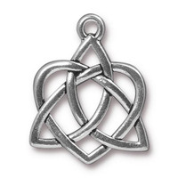 Celtic Open Heart Pendant, Antiqued Silver Plate, 10 per Pack