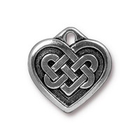 Celtic Heart Pendant, Antiqued Silver Plate, 20 per Pack