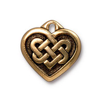 Celtic Heart Pendant, Antiqued Gold Plate, 20 per Pack
