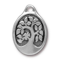 Bird In A Tree Pendant, Antiqued Silver Plate, 10 per Pack