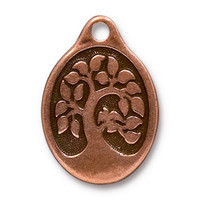 Bird In A Tree Pendant, Antiqued Copper Plate, 10 per Pack