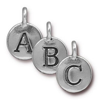 ABC Charm Mix, Antiqued Silver Plate, 260 per Pack