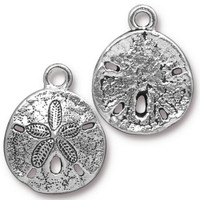 Sand Dollar Charm, Antiqued Silver Plate, 20 per Pack